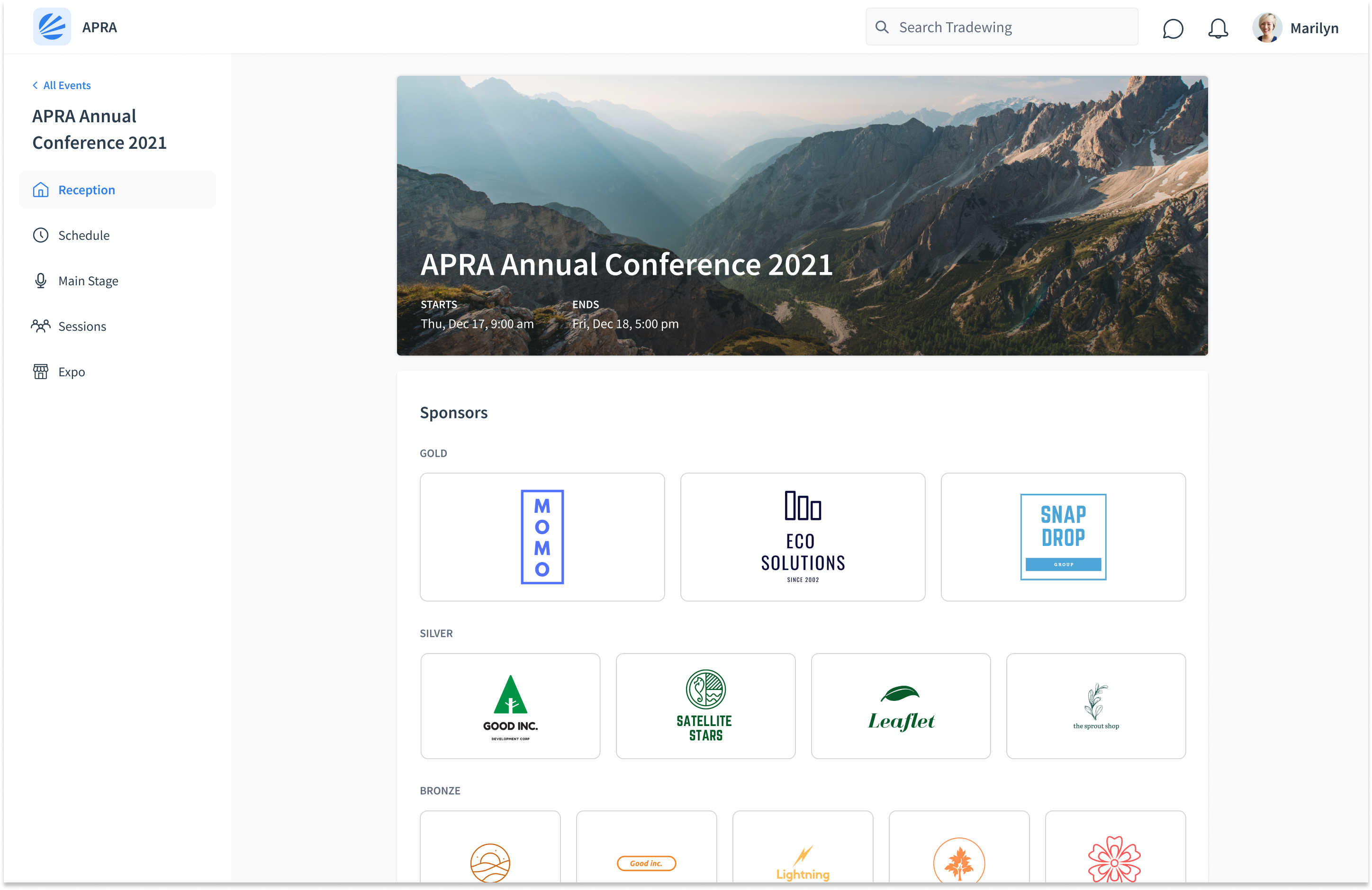 Conferences Interface with Tradewing