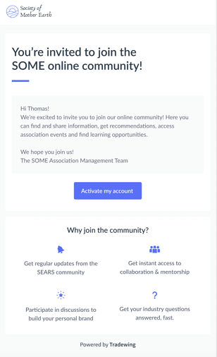 Tradewing Activation Email One