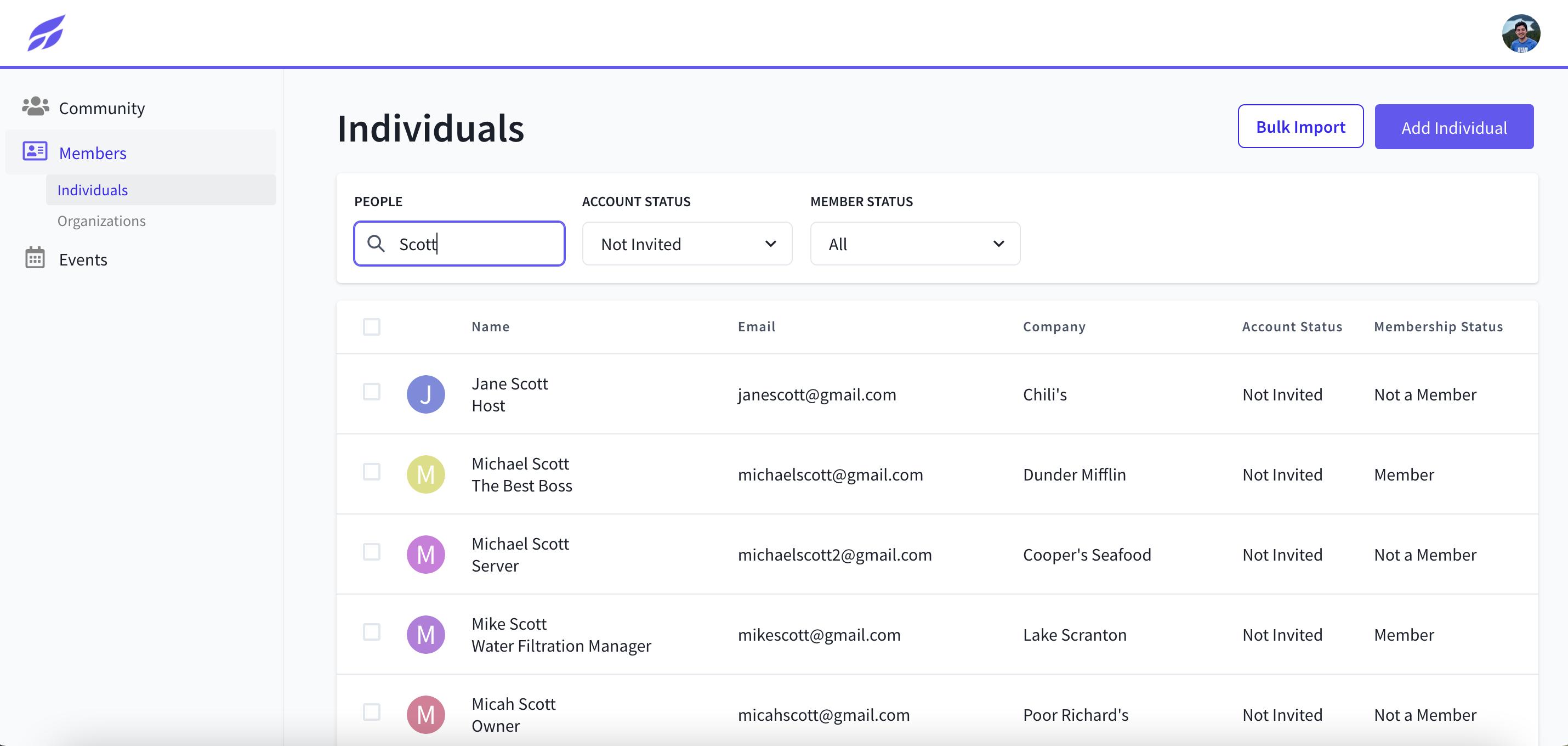 Tradewing Admin Member Directory
